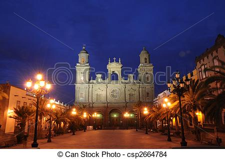 Stock Photo of Plaza Santa Ana at night. Las Palmas de Gran.