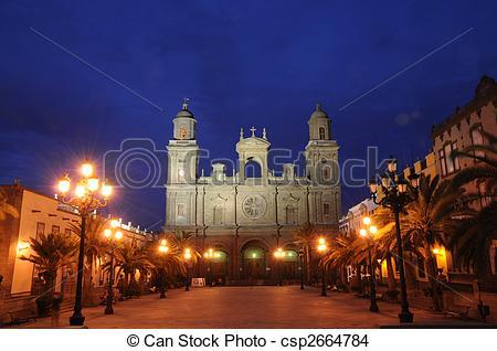 Stock Photo of Plaza Santa Ana at night. Las Palmas de Gran.