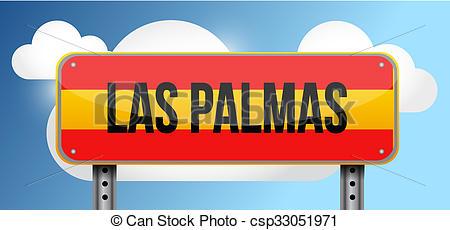 Stock Illustrations of las palmas spain road street sign.