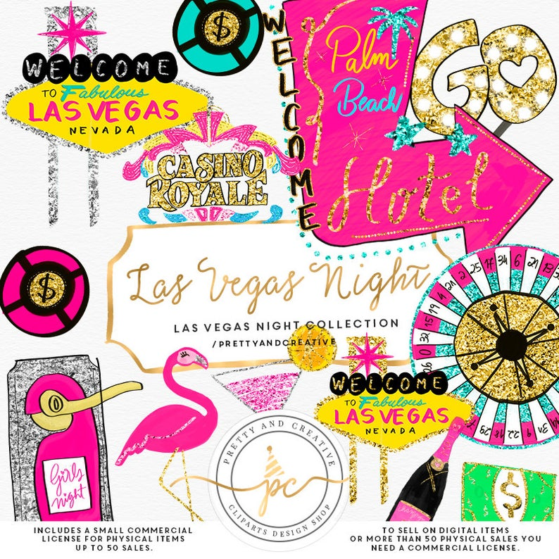 Las Vegas Clipart, Glitter Set, Clip Art Vegas, Party, Casino Clipart,  Gambling Clipart, Hand.