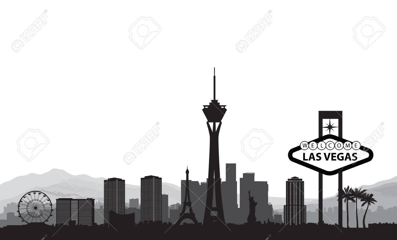 Las Vegas skyline. Travel american city landmark background.