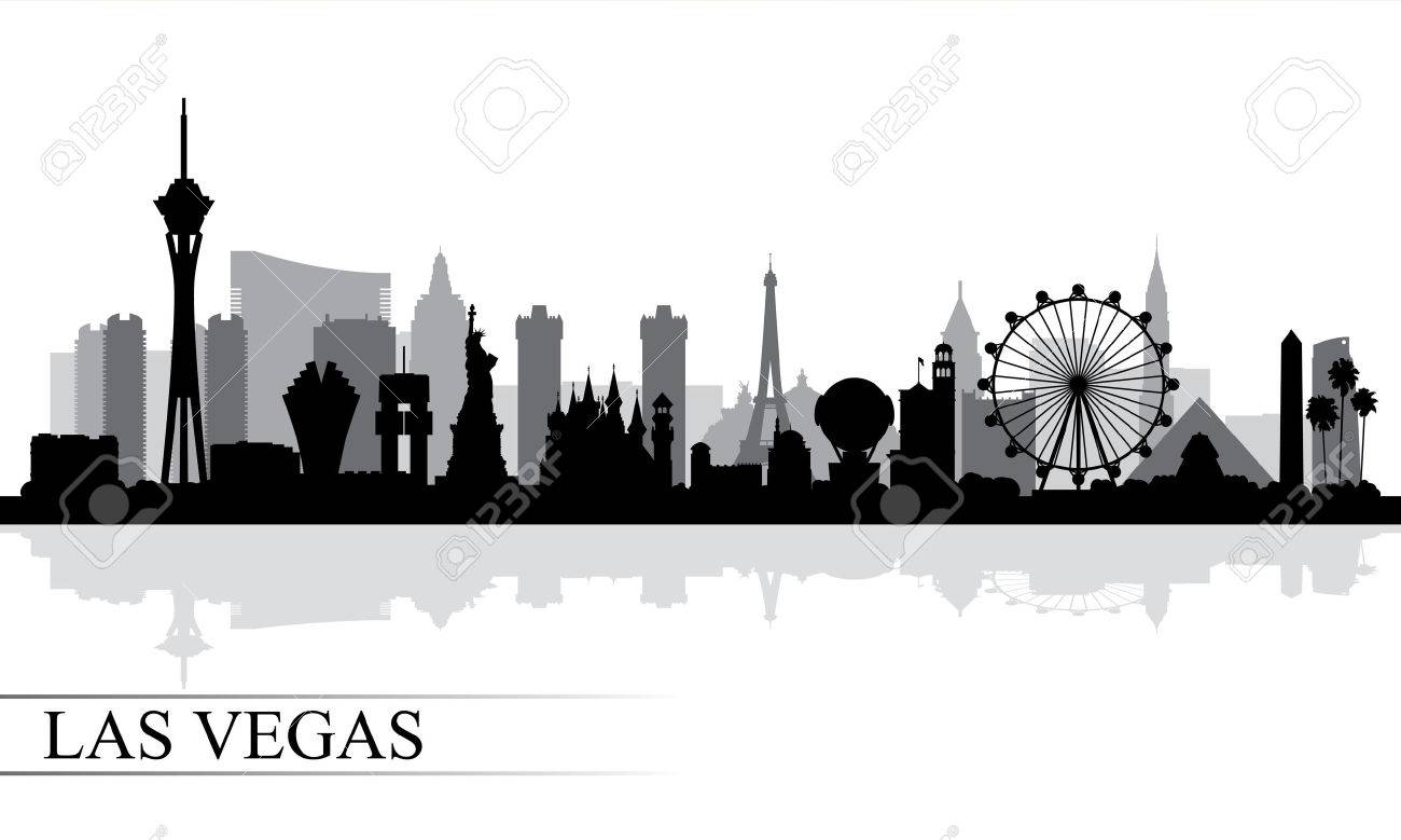 Las Vegas city skyline silhouette background, vector illustration.