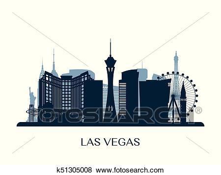 Las Vegas skyline, monochrome silhouette. Clip Art.
