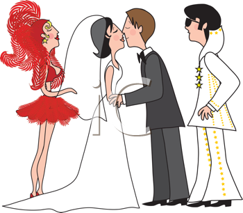 Royalty Free Clipart Image of a Bride and Groom With an.