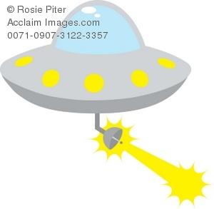 UFO Flying Saucer Firing A Laser Beam Royalty.