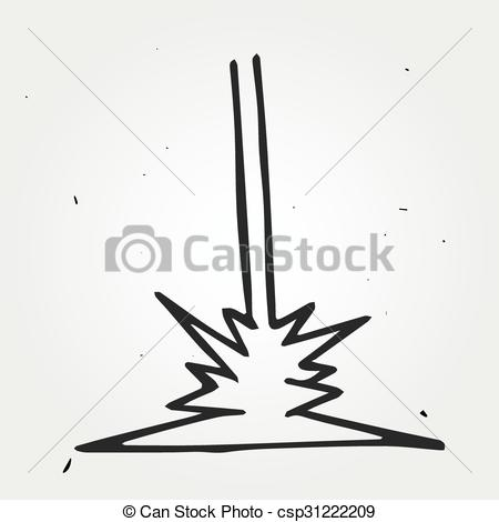 Vector Clipart of Hand drawn laser beam, doodle vector element.