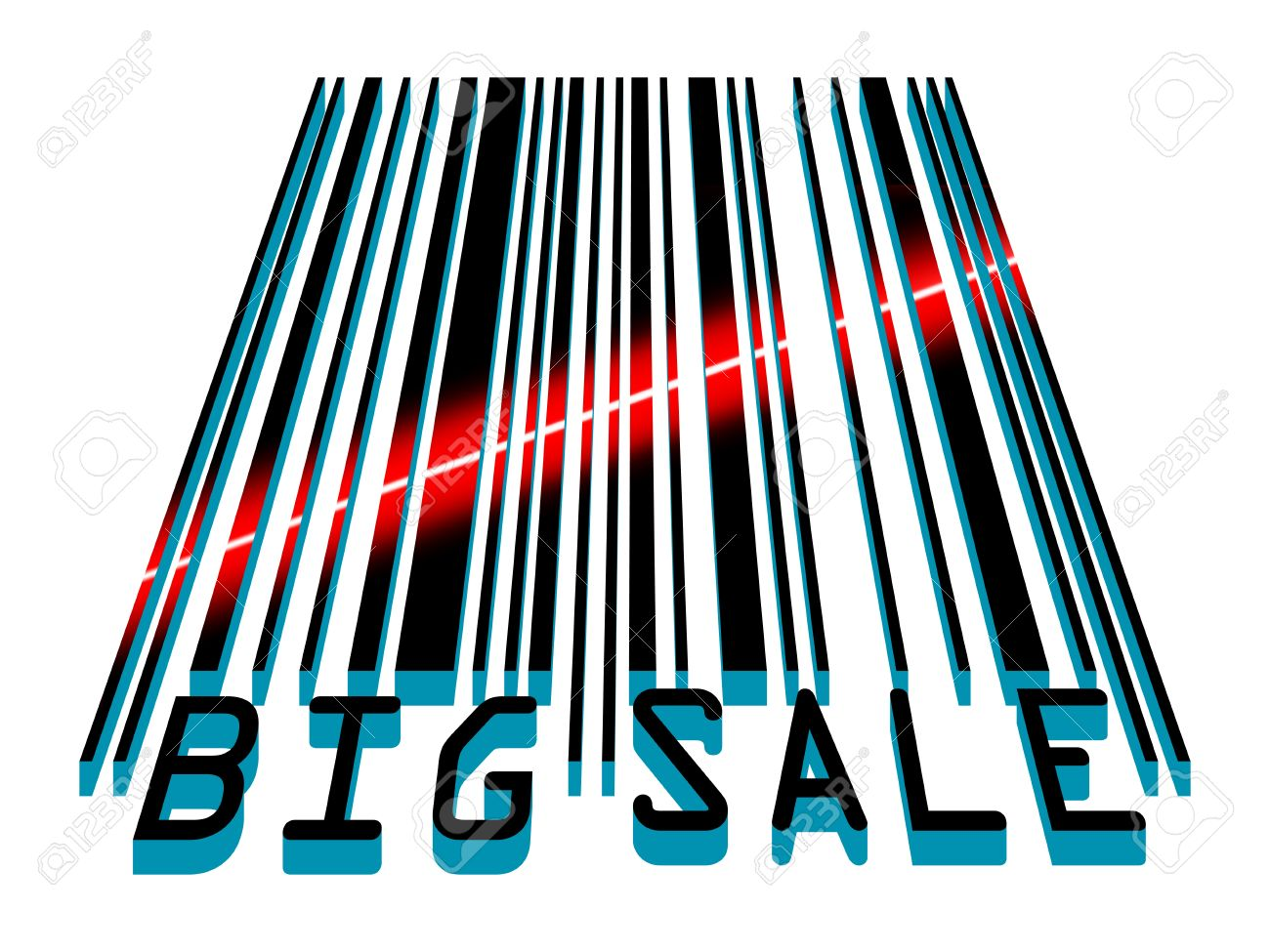 Big Sale Bar Code Concept With Laser Light. EPS 8 Vector File.