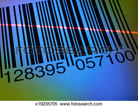 Stock Image of Laser Beam over a Bar Code x19235705.