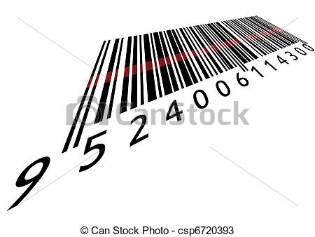 Vectors of Bar code with laser isolated csp6720393.