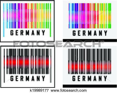 Clip Art of Bar Code icon and red laser sensor beam over Germany.