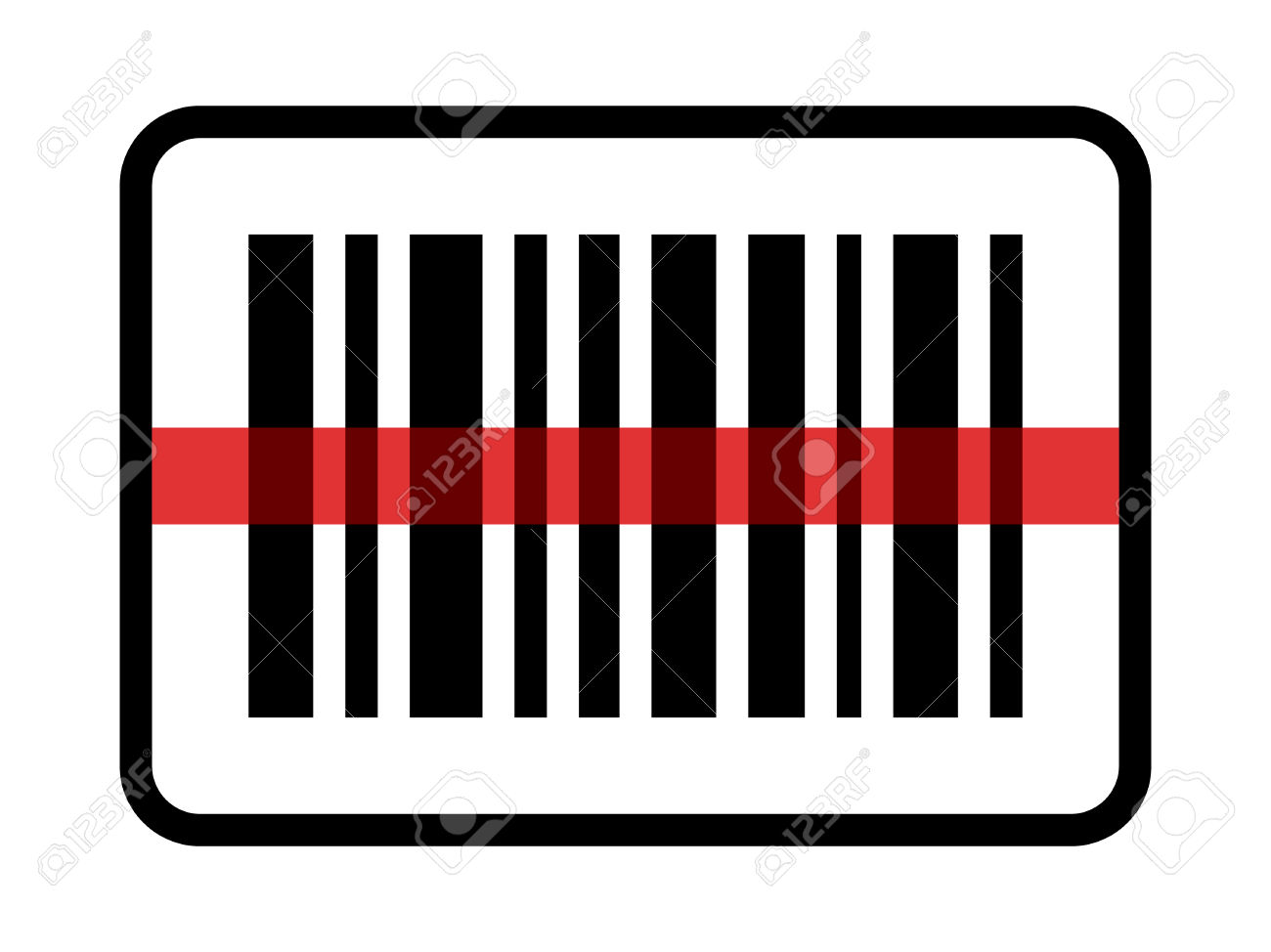 Red Laser Scanning Inventory Barcode / Bar Code Line Art Icon.