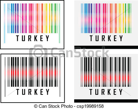 Clipart Vector of Bar Code icon and red laser sensor beam over.