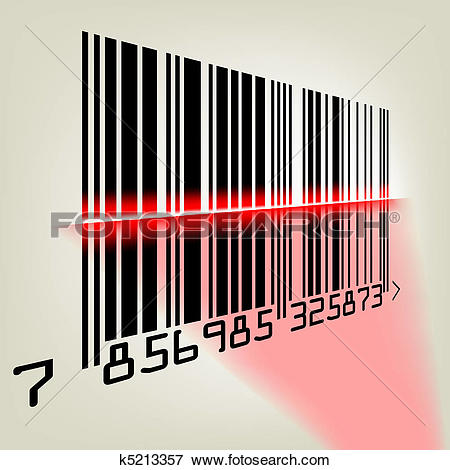 Clip Art of Bar code with laser light. EPS 8 k5213357.