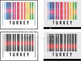 Bar Code Icon and Red Laser Sensor Beam Over Turkey stock vectors.