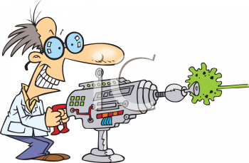 Mad Scientist Shooting a Laser Gun Clipart.