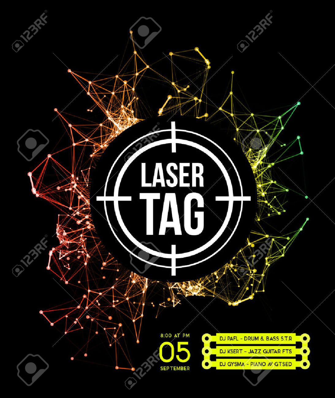 Laser tag with target.on a background of multi.