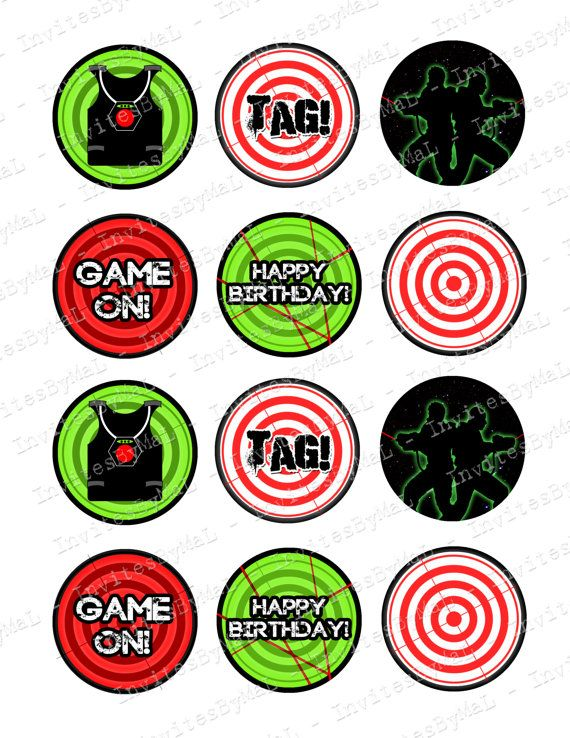 Laser Tag Cupcake Toppers Printable File Instant by.