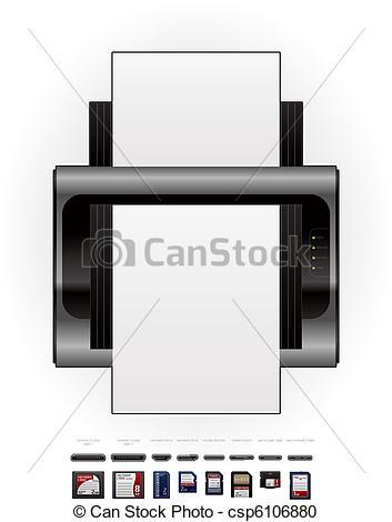 Vector Clipart of LaserJet Printer & Memory Cards.