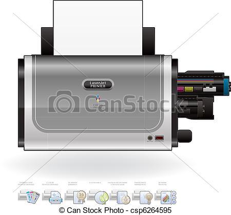 Clipart Vector of LaserJet Printer.