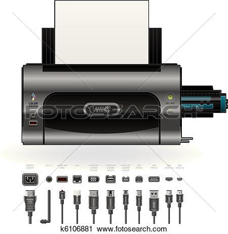 Clipart of LaserJet Printer, Ports & Cables k6106881.