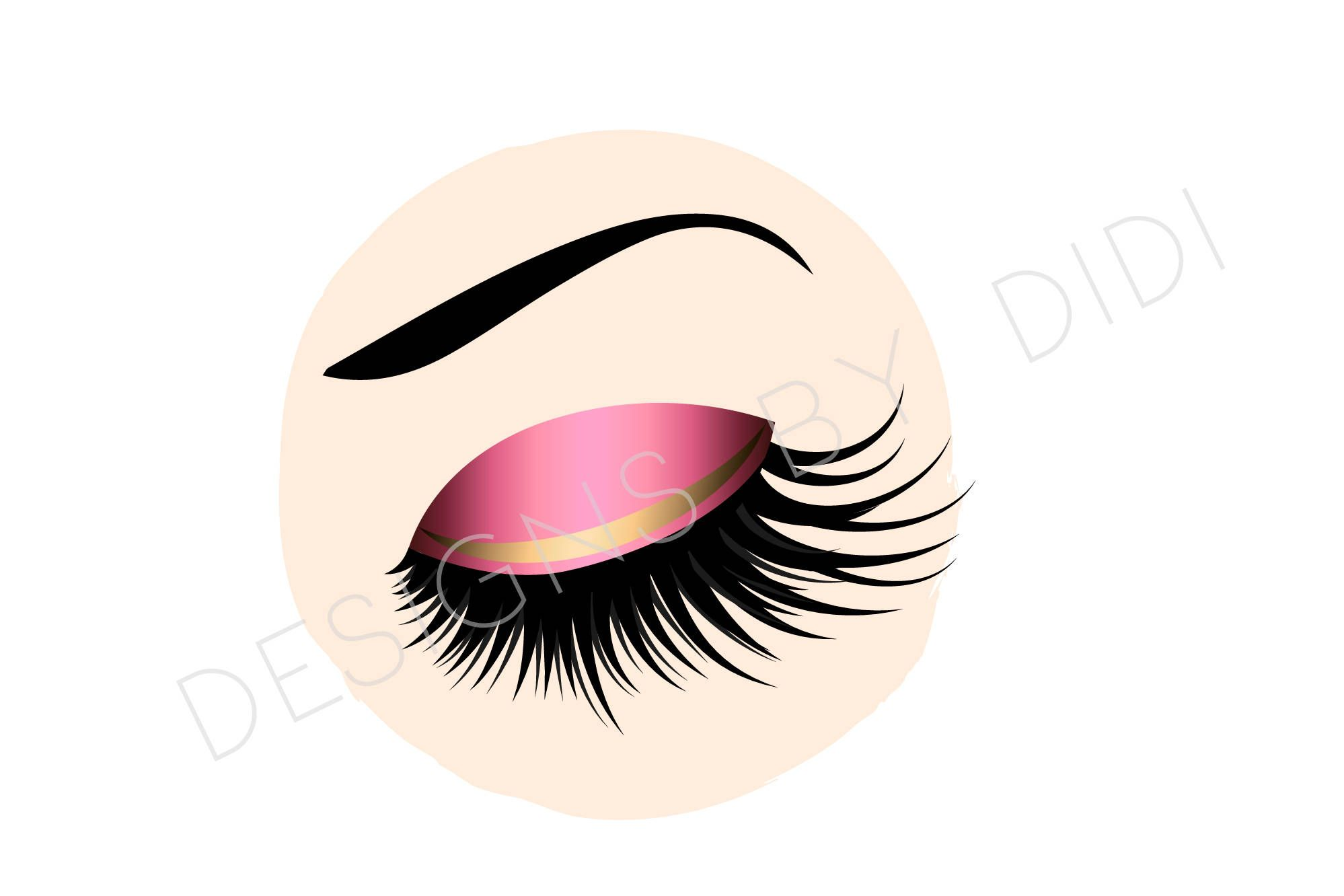 Instant Download, Lash Clipart, pink gold lashes clip art.