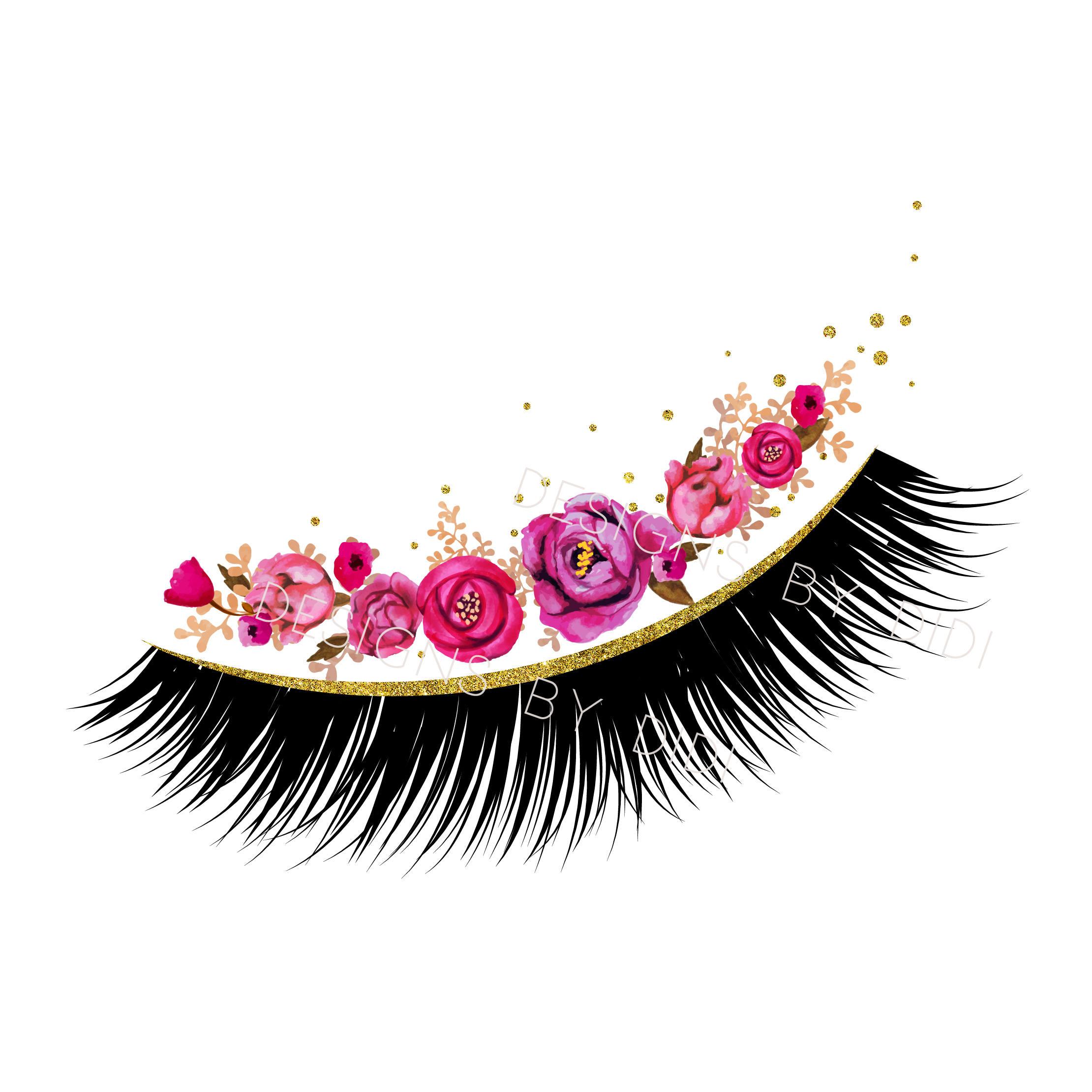 Instant Download, Lash Clipart, pink gold lashes clip art, instant download  lashes clip art, lashes image, lash logo pink gold.