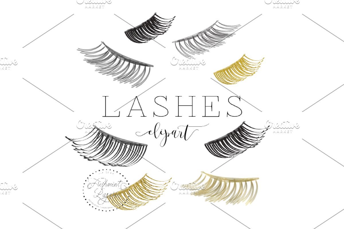watercolor lashes clipart.