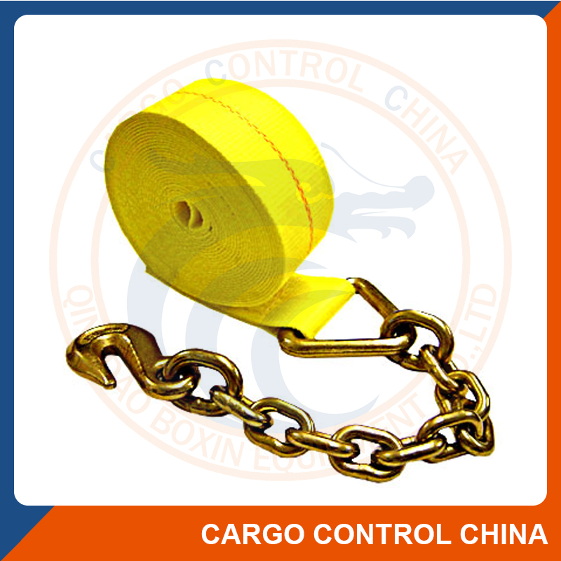 3033 3'' 4'' Cargo Lashing Straps Tie Down With Chain Anchor.