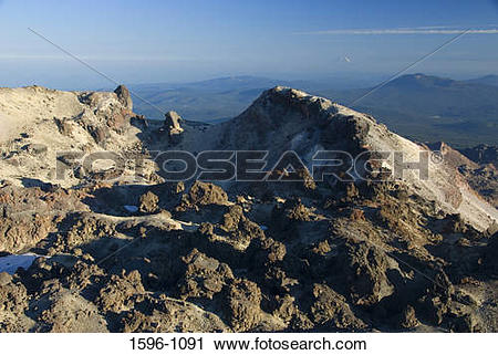 Stock Photography of Panoramic view of a mountain range, Mt Lassen.