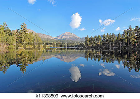 Stock Photograph of Mount Lassen and clouds reflected in Manzanita.
