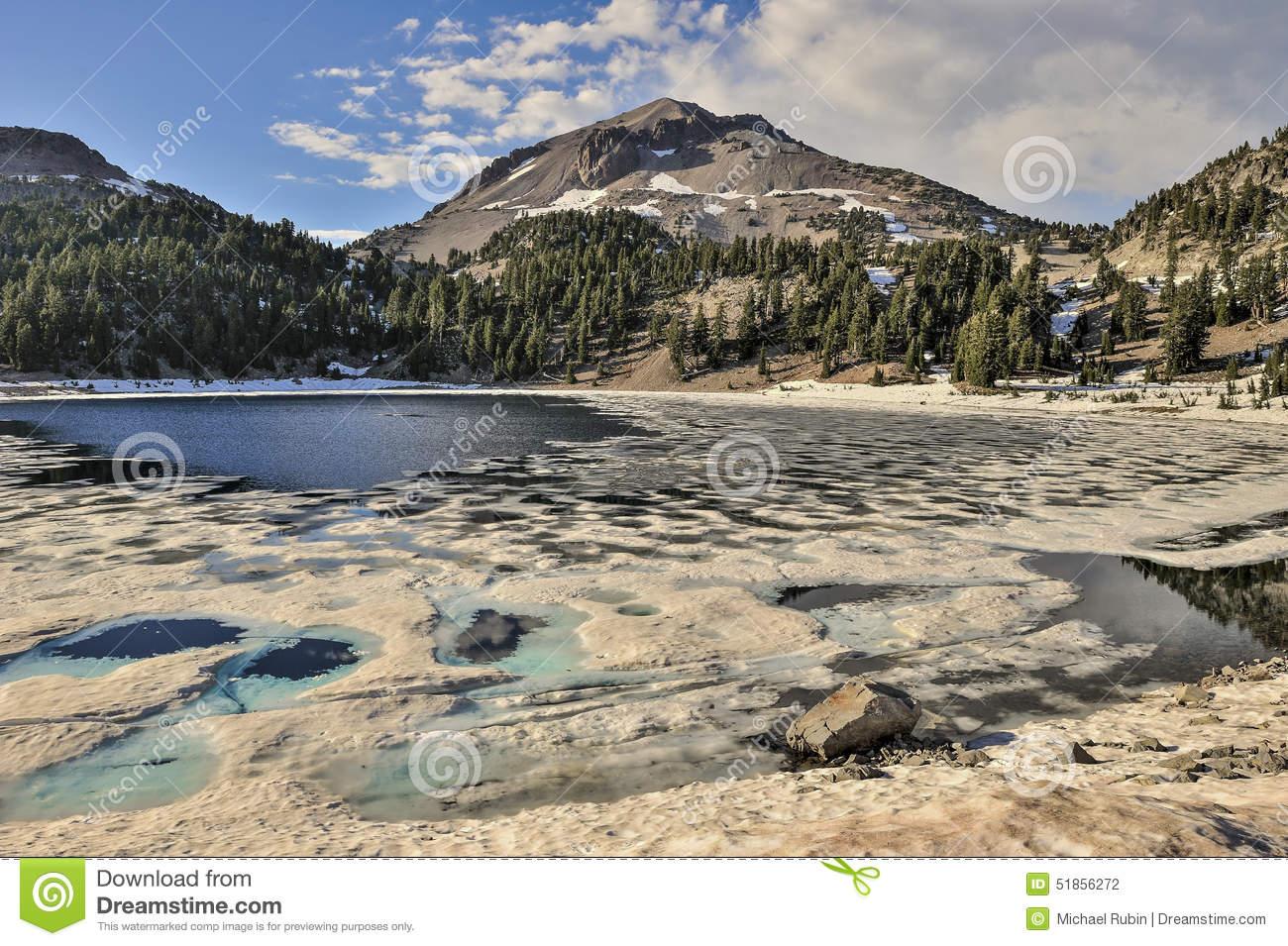 Pine, Lake Helen And Lassen Peak, Lassen Volcanic National Park.