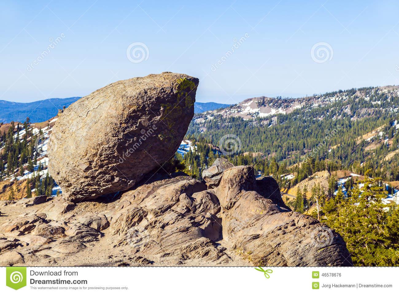 Rock In Mountain Landscape In Lassen Volcanic National Park Stock.