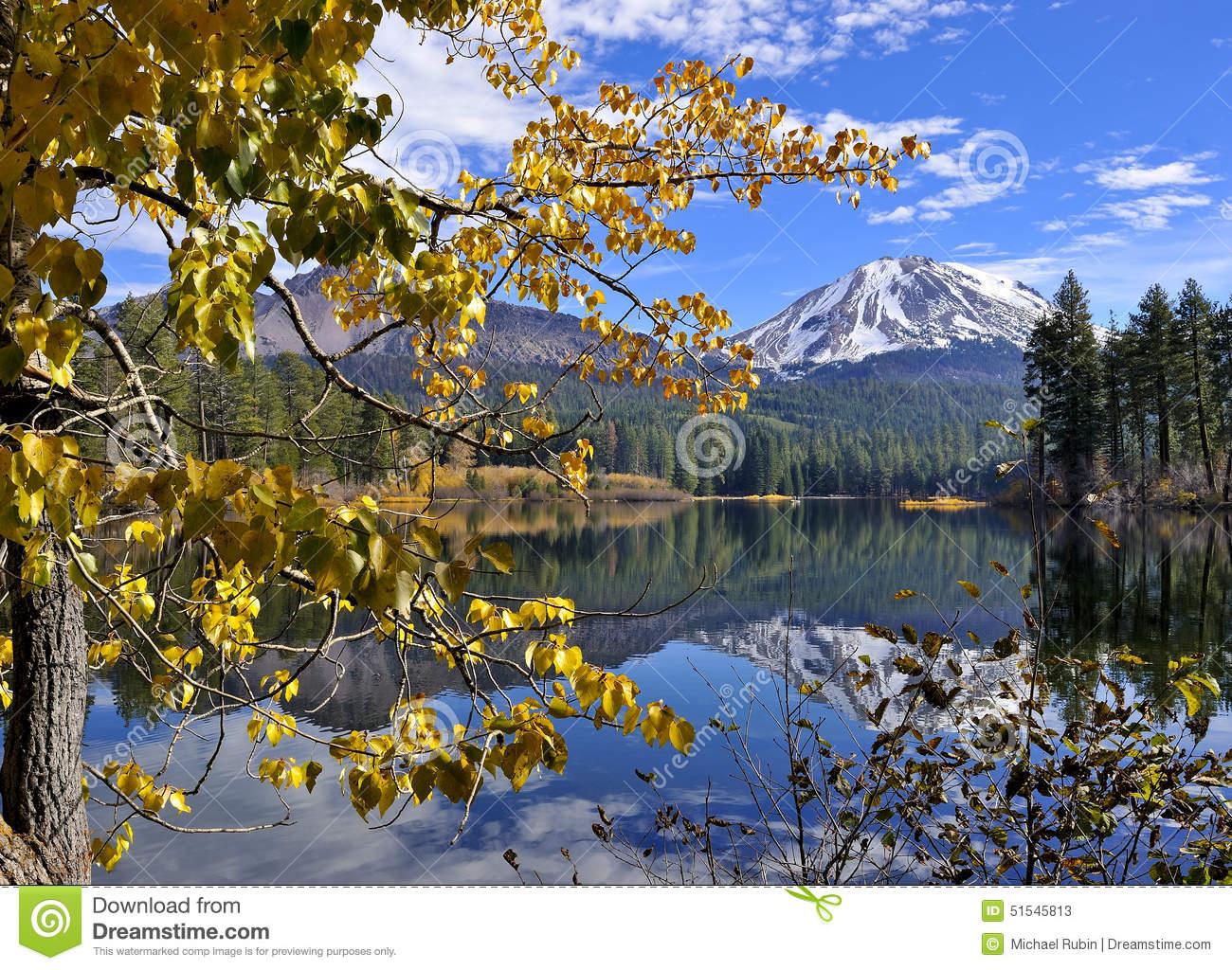Autumn Foliage And Lassen Peak, Lassen Volcanic National Park.