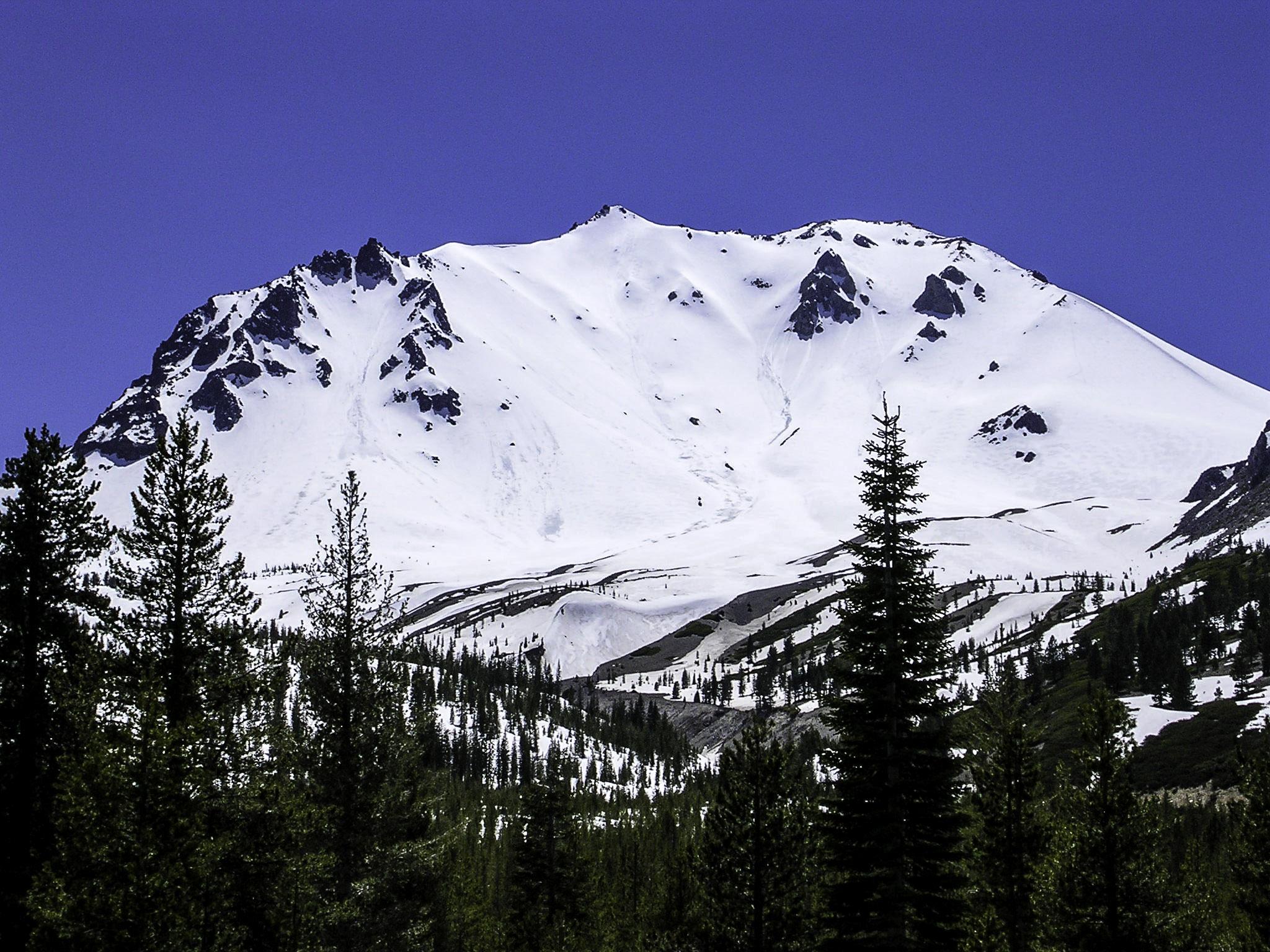 Snow covered Lassen Peak in Lassen Volcanic National Park.