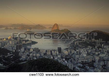 Stock Photo of Rio de Janeiro Brazil last light at sunset hitting.