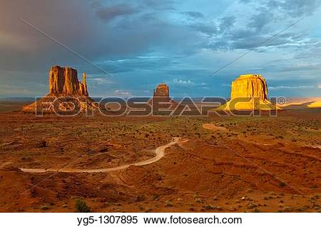 Stock Image of The Mitten Buttes in the last light during a storm.