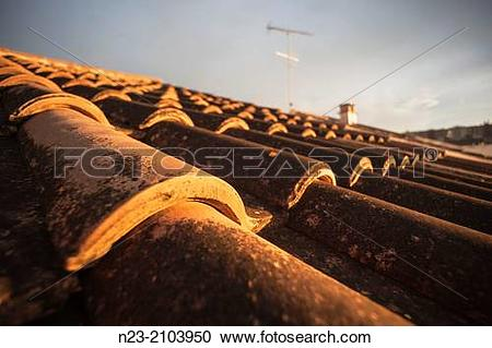 Stock Photography of Roof lit by the last light of day, Valencia.