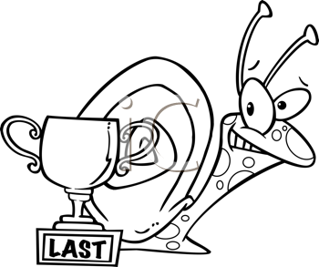 Royalty Free Clipart Image of a Snail With a Last Place.