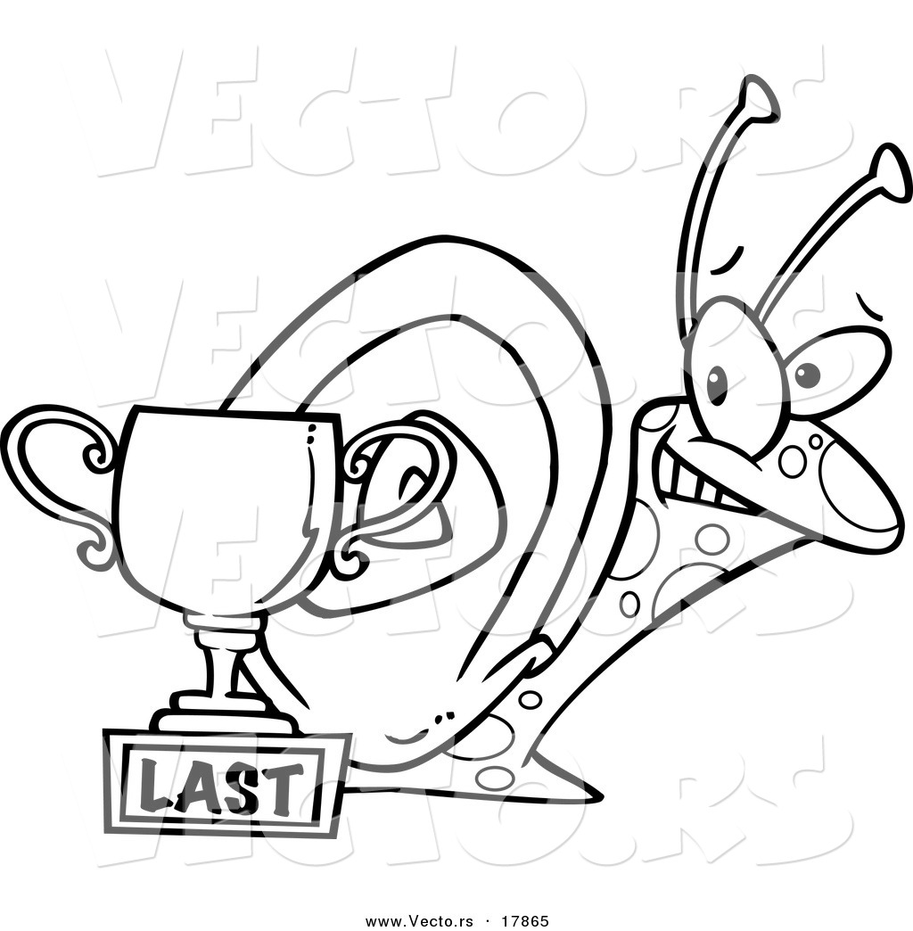 Vector of a Cartoon Snail by a Last Place Trophy Cup.