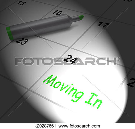 Clipart of Moving In Calendar Displays New House Or Place Of.