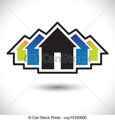 Vector Clipart of House(home) & residence sign for real estate.