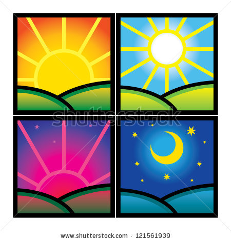 Morning Day Evening Night Nature Hour Stock Vector 121561939.