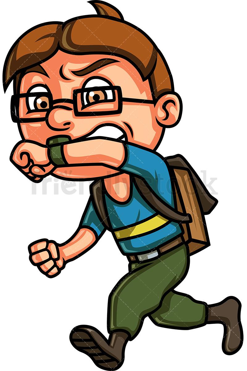 Kid Running Late For School Cartoon Clipart Vector.