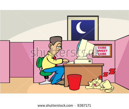 Vector Man Working Late Night On Stock Vector 9367171.