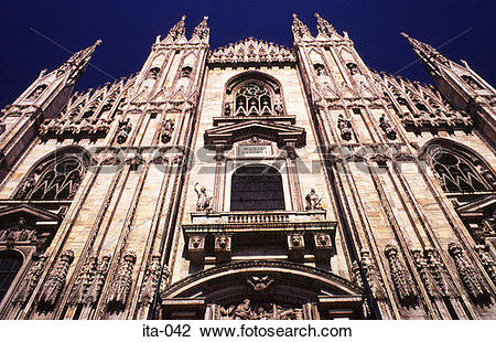 Stock Photo of Late Gothic West Facade Duomo Cathedral Milan Italy.