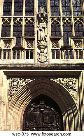 Stock Image of Late Gothic Doorway and Window Bath Cathedral UK.