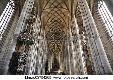 """Stock Image of """"Vaulted ceiling and chancel of the late."""