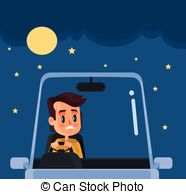 Driving At Night Clipart.