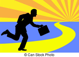 Vector Clip Art of Businessman to call by late riser.