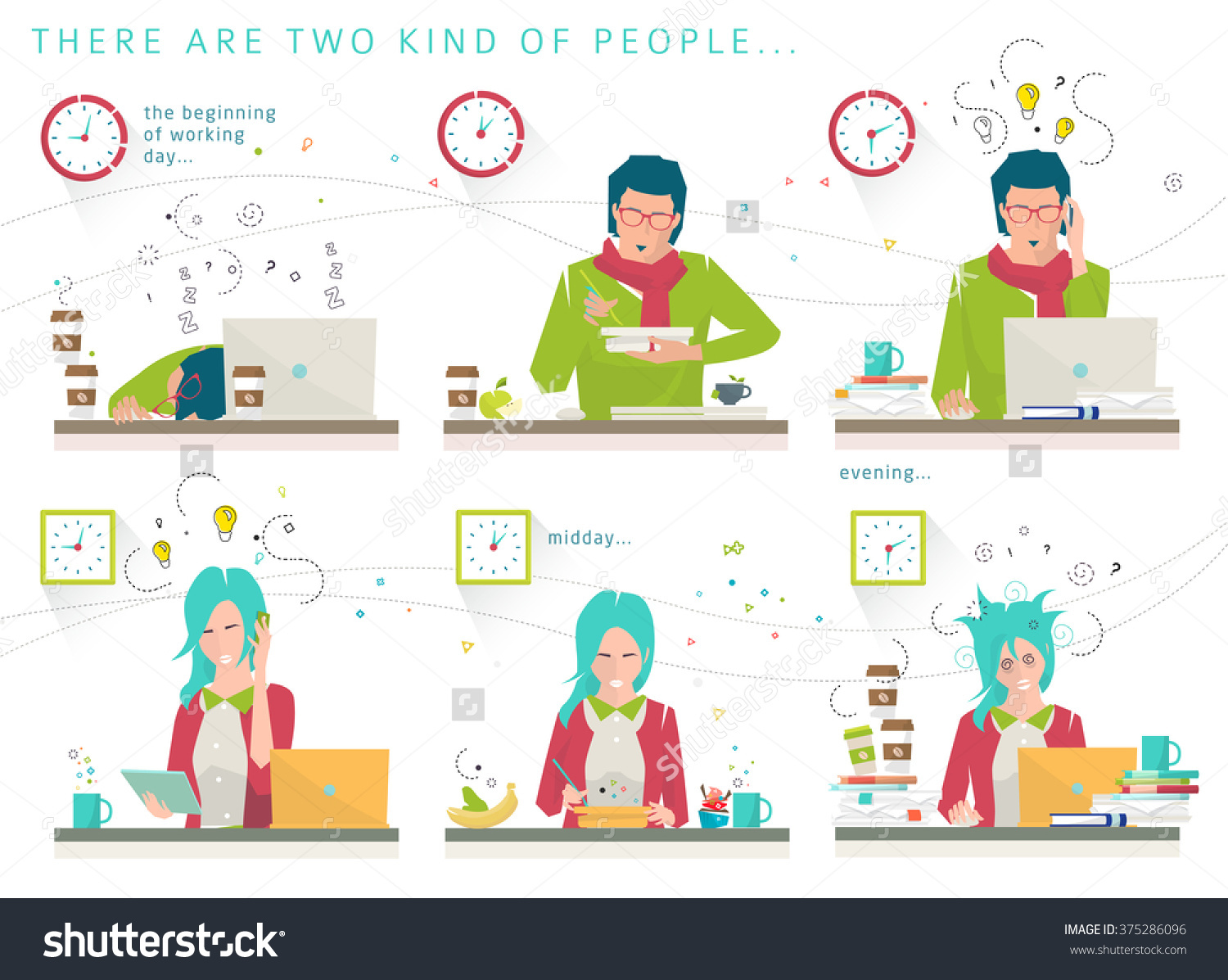 Concept Two Kind People Early Late Stock Vector 375286096.